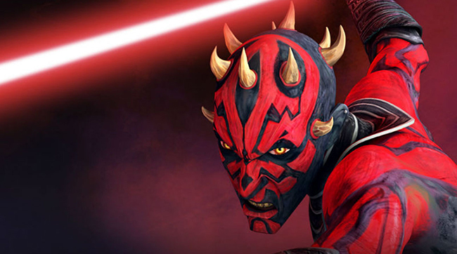 The terrifying villain Darth Maul, voiced by Sam Witwer, in the animated series STAR WARS: THE CLONE WARS