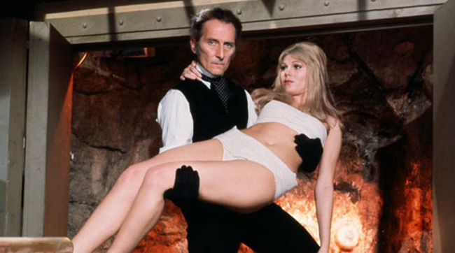 Peter Cushing as Baron Frankenstein gives a lift to Susan Denberg in Hammer's FRANKENSTEIN CREATED WOMAN (1967)