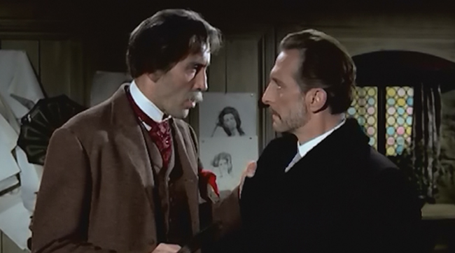 Christopher Lee as Professor Karl Meister and Peter Cushing as Dr. Namaroff in Hammer's THE GORGON (1964)