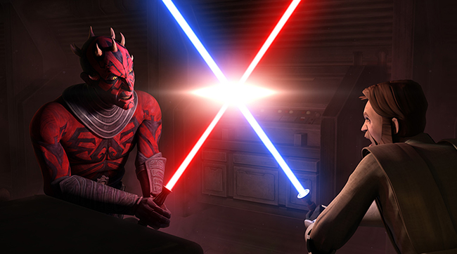 Darth Maul battles Obi-Wan Kenobi once again in the animated series STAR WARS; THE CLONE WARS