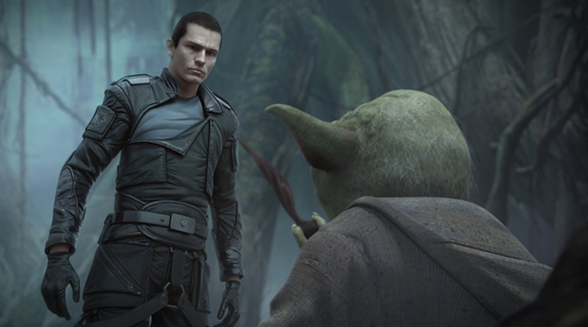 Starkiller, portrayed by actor Sam Witwer, confronts the Jedi master Yoda in STAR WARS: THE FORCE UNLEASHED II video game.