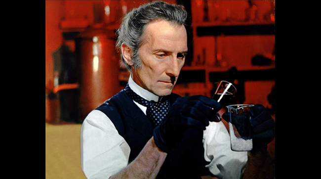 Peter Cushing as Baron Frankenstein in Hammer's FRANKENSTEIN CREATED WOMAN (1967)