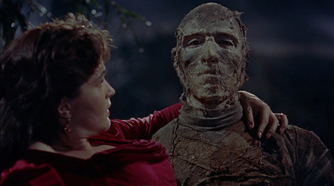 Yvonne Furneaux as Isobel and Christopher Lee in Hammer's THE MUMMY (1959)
