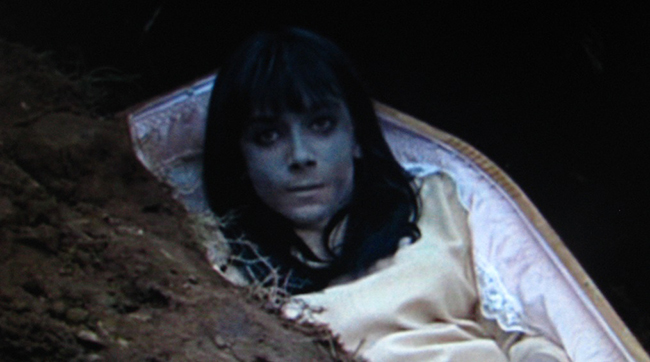 Jacqueline Pearce as Alice turned ghoul in Hammer's THE PLAGUE OF THE ZOMBIES (1966)