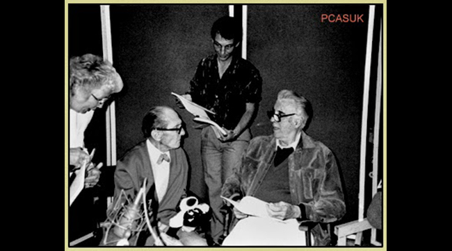 Peter Cushing, Ted Newsom and Christopher Lee prepare to record narration tracks for the documentary FLESH AND BLOOD: THE HAMMER HERITAGE OF HORROR.