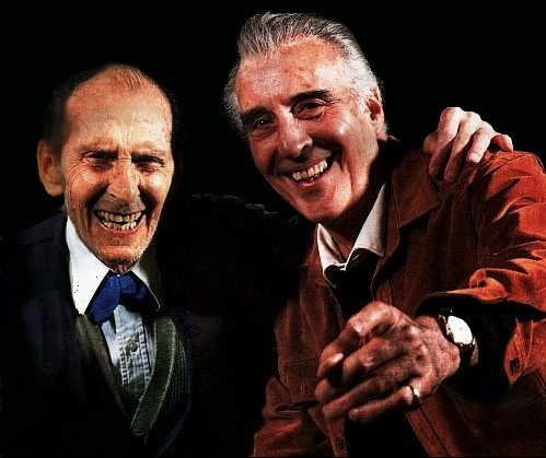 Hammer horror greats Peter Cushing and Christopher Lee unite to narrate Ted Newsom's documentary FLESH AND BLOOD: THE HAMMER HERITAGE OF HORROR. Photo © and courtesy of Ted Newsom, used with permission, all rights reserved.