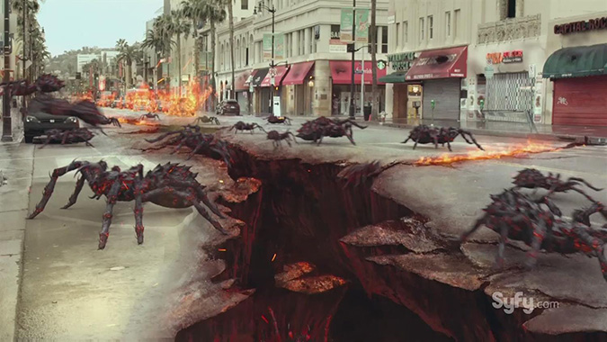 Spiders and earthquakes and lava, oh my! Giant arachnids wreak havoc in Los Angeles in Mike Mendez's SyFy film LAVALANTULA.