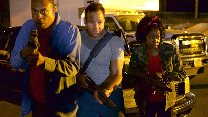 LAVALANTULA -- Pictured: (l-r) Michael Winslow as Marty,   Steve Guttenberg as Colton, Marion Ramsey as Theodora -- (Photo by: Jason Lester/Valiant Days Distribution/Syfy)