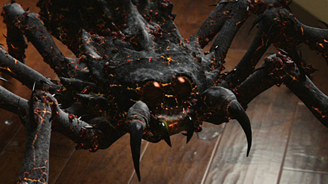 One of the fiery arachnid monsters from Mike Mendez's SyFy film LAVALANTULA.