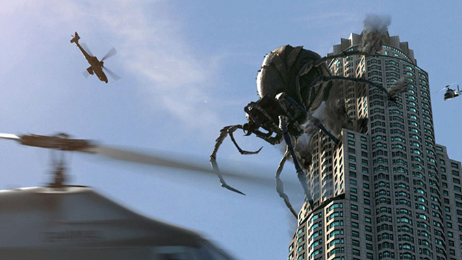 A giant arachnid destroys the Los Angeles skyline in Mike Mendez's giant-bug horror film BIG ASS SPIDER!