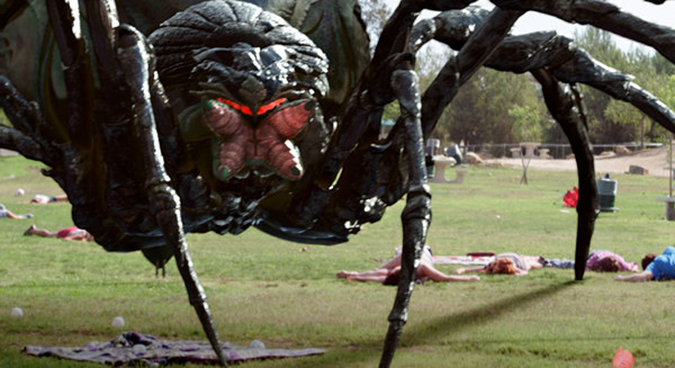 The title character from BIG ASS SPIDER!, Mike Mendez's affectionate salute to giant bug movies of the 1950s.