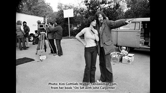 Director John Carpenter confers with lead actress Adrienne Barbeau during the making of his 1980 horror thriller THE FOG. Photo credit: Kim Gottlieb-Walker.