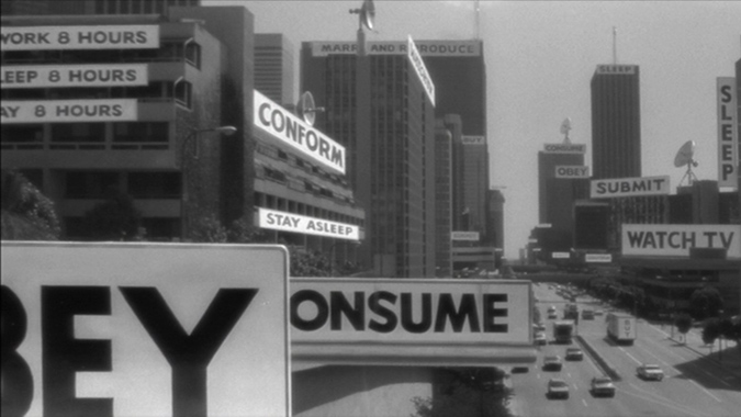 Signal decrypting sunglasses reveal the effects of the aliens' subliminal mind control of the human race in John Carpenter's influential and relevant sci-fi film THEY LIVE.