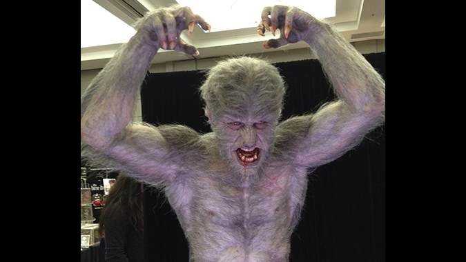 Head and torso from Mike Hill's life-size recreation of the classic Aurora Wolf Man monster model kit, debuted at Monsterpalooza 2015.