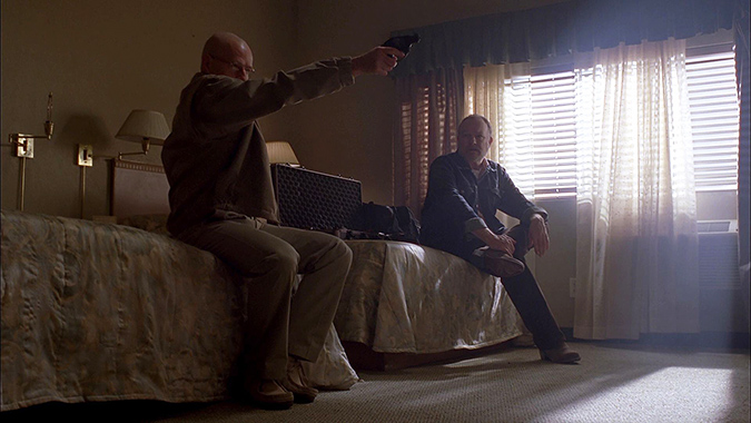 Jim Beaver (right) as Lawson sets up a key plot moment with Bryan Cranson as Walter White in BREAKING BAD.