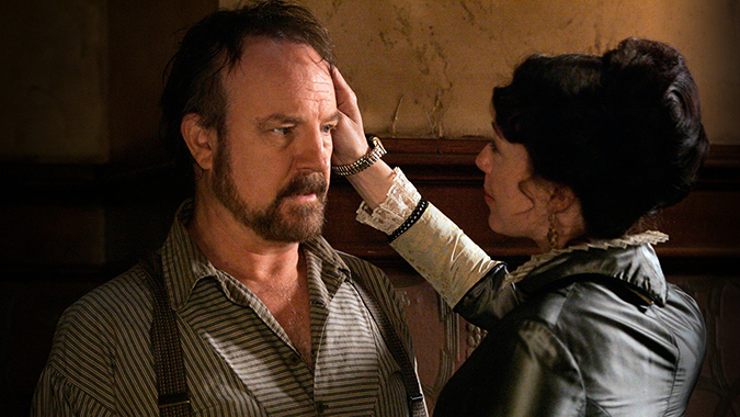 The changing relationship between Ellsworth (Jim Beaver) and Alma Garret (Molly Parker) was a key factor in the dramatic arc of HBO's DEADWOOD.