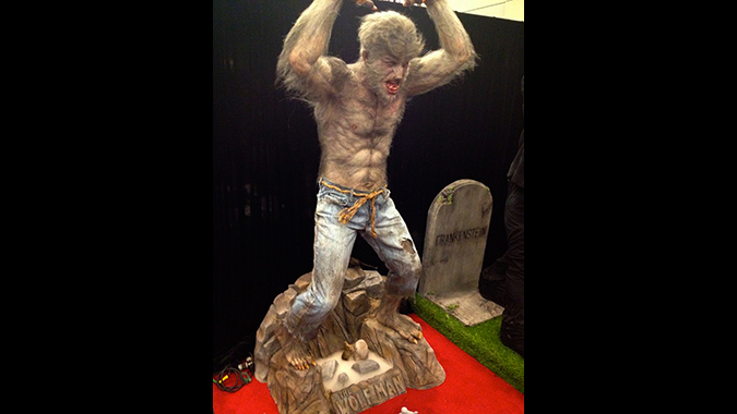 Complete figure from Mike Hill's life-size recreation of the classic Aurora Wolf Man monster model kit, debuted at Monsterpalooza 2015.