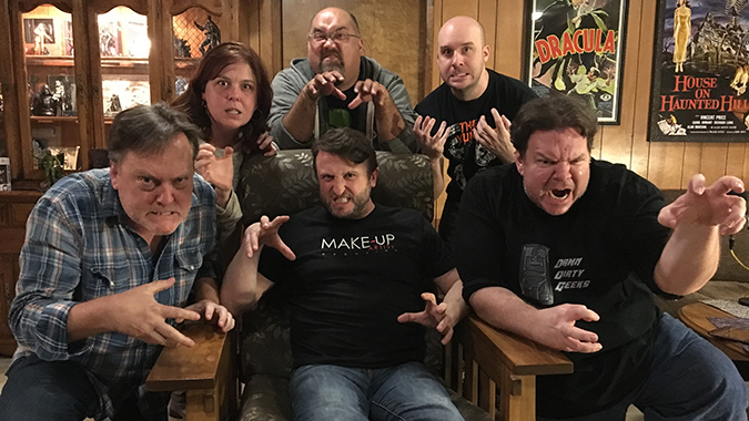 The Damn Dirty Geeks and guest: (L to R) Frank Dietz, Trish Geiger, Mike Hill (seated), Frank Woodward, Jack Bennett, Scott Weitz