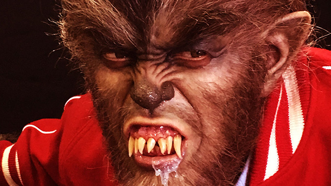 Mike Hill's life-size recreation of the Michael Landon monster from I WAS A TEENAGE WEREWOLF, debuted at Monsterpalooza 2016.