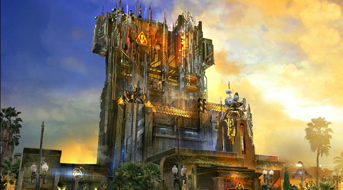 Disney's concept art for the external retrofit of Tower of Terror in a superficial redressing for the upcoming GUARDIANS OF THE GALAXY ride theme makeover.