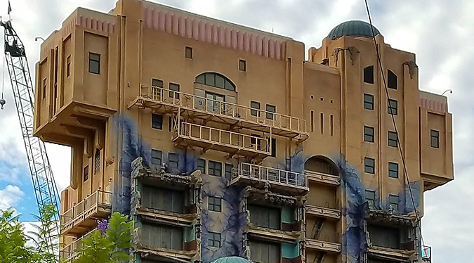 What was once the Twilight Zone Tower of Terror attraction in Disney California Adventure is now denuded of its Hollywood Tower Hotel signage, signaling the takeover of a GUARDIANS OF THE GALAXY ride theme.
