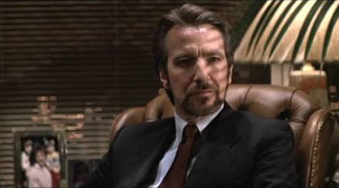 The late Alan Rickman as Hans Gruber in DIE HARD.