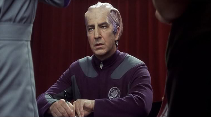 Alan Rickman in fan convention mode for his character in GALAXY QUEST.