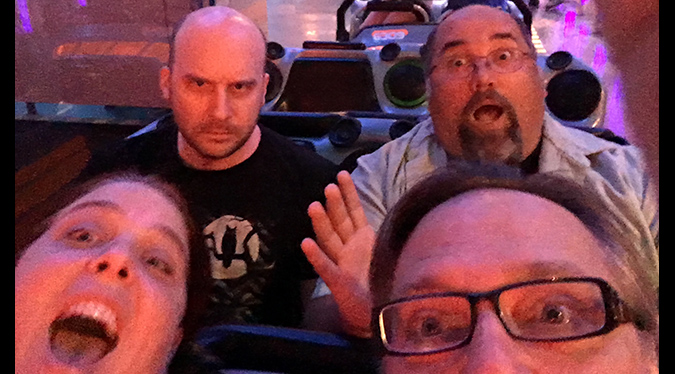 (L to R) Trish Geiger, Jack Bennett, Frank Woodward and Frank Dietz prepare for battle in Hyperspace Mountain in Disneyland.
