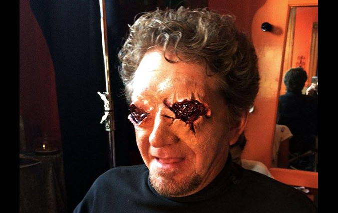 Actor Tom Ayers gets an eyeful of effects makeup in Staci Layne Wilson's independent horror film FETISH FACTORY.