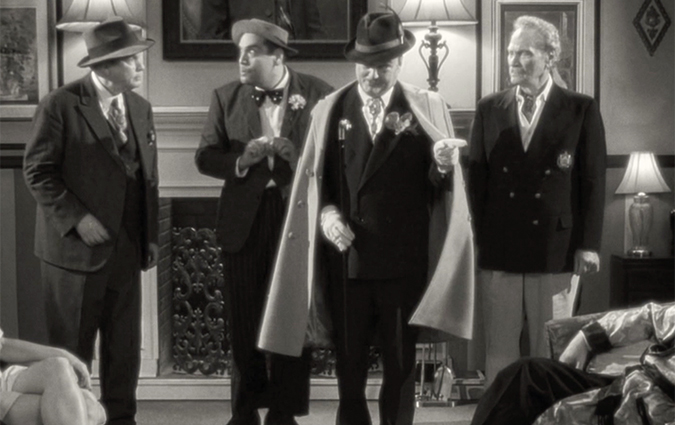 A scene from Michael Schlesinger's THE BIFFLE MURDER CASE, (L to R): Will Ryan, Nick Santa Maria, Frank Dietz and H.M. Wynant.
