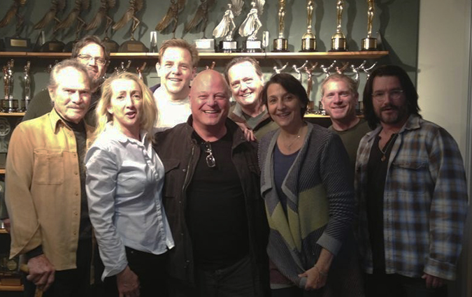 Recording an episode of 'The Adventures of Big Dan Frater,' (L to R): H.M. Wynant, unifidentified recording team mamber, Susan McConnell, Brian Howe, Michael Chiklis, Frank Dietz, Alison Martin, Dan Conroy, and another unidentified recording team member.