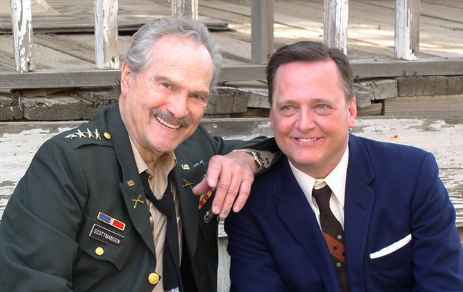 On the set filming Larry Blamire's THE LOST SKELETON RETURNS AGAIN: H.M. Wynant as General Scottmanson, and Frank Dietz as Reet Pappin.