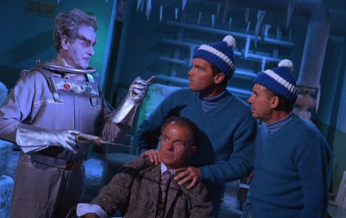 "From the 1967 ""Ice Spy"" episode of BATMAN, (L to R): Eli Wallach as Mr. Freeze, Elisha Cook Jr. as Professor Isaacson, H.M. Wynant as Frosty, and Al Wyatt Sr. as a Henchman."