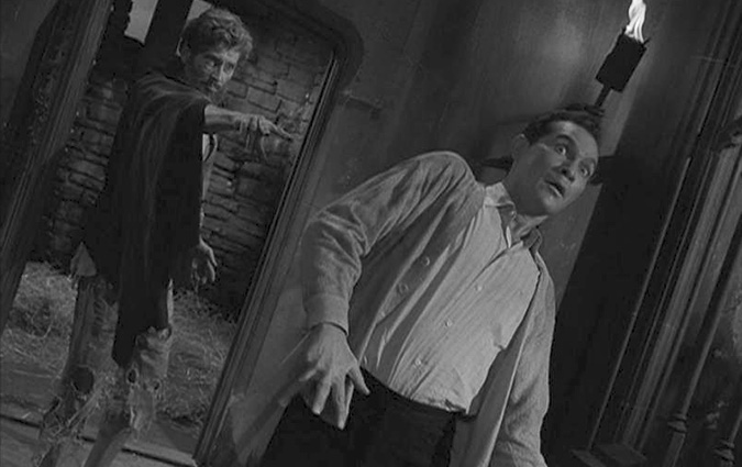 A nefarious prisoner (Robin Hughes) makes Ellington (H.M. Wynant) regret his choice to set him free in the classic TWILIGHT ZONE epiosde 'The Howling Man' which originally aired on November 4, 1960.