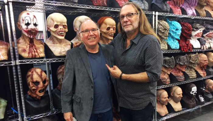 Two DDG podcast guests, David Colton and Greg Nicotero, gather with some latex friends at Monsterpalooza 2017.