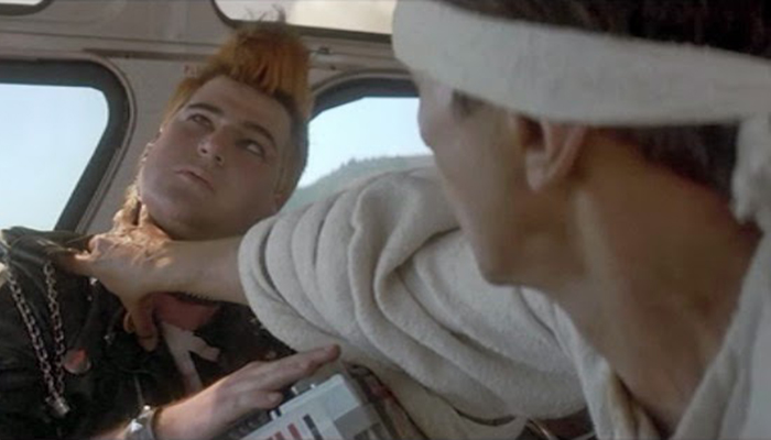 Kirk Thatcher in his role as the obnoxious punk on the bus, getting the Vulcan nerve pinch from Spock (Leonard Nimoy) in STAR TREK IV: THE VOYAGE HOME.