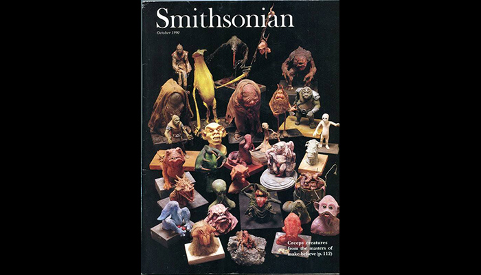 October 1990 issue of Smithsonian magazine, featuring two of Kirk Thatcher's creature maquette designs for STAR WARS: RETURN OF THE JEDI.