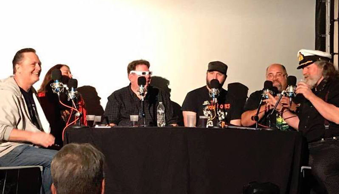 Shot of the Damn Dirty Geeks recording our live podcast from Monsterpalooza 2017: (L to R) Frank Dietz, Trish Geiger, Scott Weitz, Jack Bennett, Frank Woodward and guest Kirk R. Thatcher.