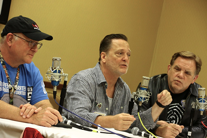 Recording the Damn Dirty Geeks podcast live at WonderFest 2017: (L to R) convention CEO David Hodge, host Frank Dietz, co-host Brian Howe.