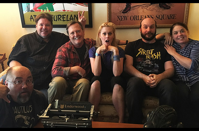 The Damn Dirty Geeks have some laughs with our special guest: (L to R) Frank Woodward, Scott Weitz, Frank Dietz, Janet Varney, Jack Bennett, Trish Geiger.