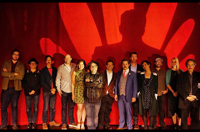 The full cast of the live stage reading of PLAN 9 FROM OUTER SPACE performed April 25, 2017, including Dana Gould, Janet Varney, Bobcat Goldthwait,  Jonah Ray, Nate Mooney, David Koechner, Deborah Baker Jr., Paul F. Thompkin and many more. Photo by Pam Severns.