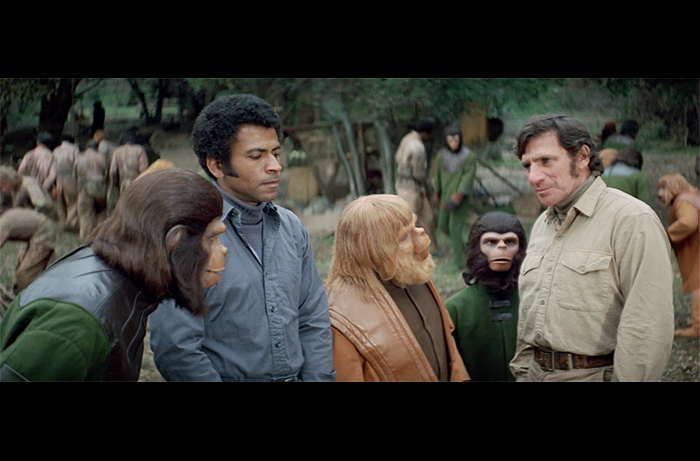 From BATTLE FOR THE PLANET OF THE APES: (L TO R) Roddy McDowall as Caesar, Austin Stoker as McDonald, Paul Williams as Virgil, Bobby Porter as Cornelius, and Noah Keen as Abe.