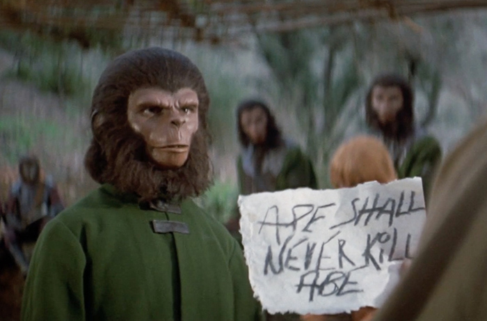 Bobby Porter portrays young Cornelius in a pivotal thematic moment in BATTLE FOR THE PLANET OF THE APES.