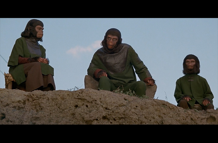 (L to R): Natalie Trundy as Lisa, Roddy McDowall as Caesar, and Bobby Porter as Cornelius in BATTLE FOR THE PLANET OF THE APES.