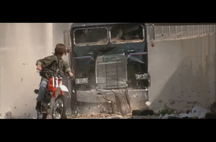 The flood channel chase scene from TERMINATOR 2: JUDGEMENT DAY in which Bobby Porter doubled for actor Edward Furlong as John Connor races his motorcycle to evade the T-1000 in a semi cab.