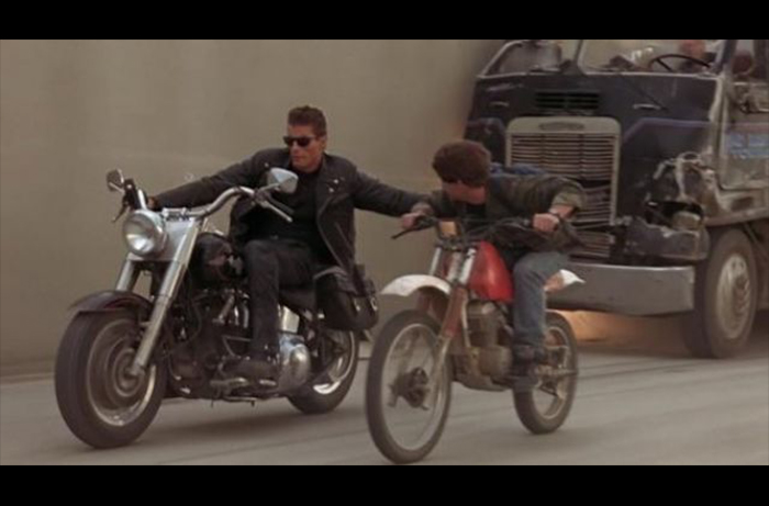 The flood channel chase scene from TERMINATOR 2: JUDGEMENT DAY in which Bobby Porter doubled for actor Edward Furlong as John Connor gets a lift from another stunt performer doubling Arnold Schwartzenegger.