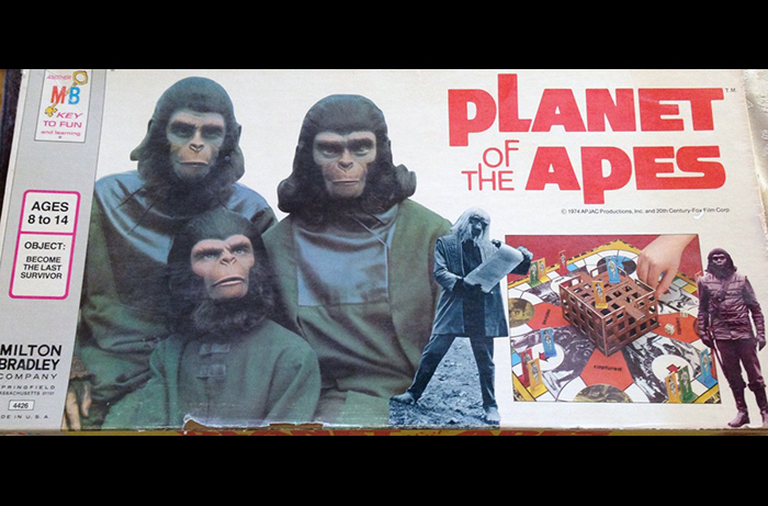 Box cover art for the vintage 1974 Planet of the Apes board game, featuring Roddy McDowall as Caesar, Natalie Trundy as Lisa, and Bobby Porter as Cornelius.