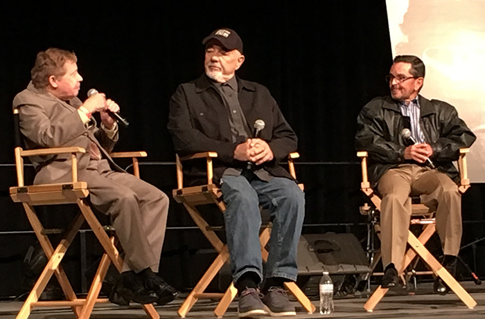 At Monsterpalooza 2017: (L to R) Lou Wagner, makeup effects artist Tom Burman and Bobby Porter discuss MAKING APES: THE ARTISTS WHO CHANGED FILM, directed by William Conlin for a 2018 release. Photo courtesy of Making Apes on Facebook.
