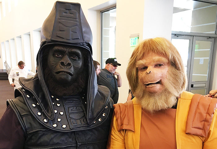 At Monsterpalooza 2017: two excellent APES cosplayers attend the panel for MAKING APES: THE ARTISTS WHO CHANGED FILM, directed by William Conlin for a 2018 release. Photo courtesy of Making Apes on Facebook.