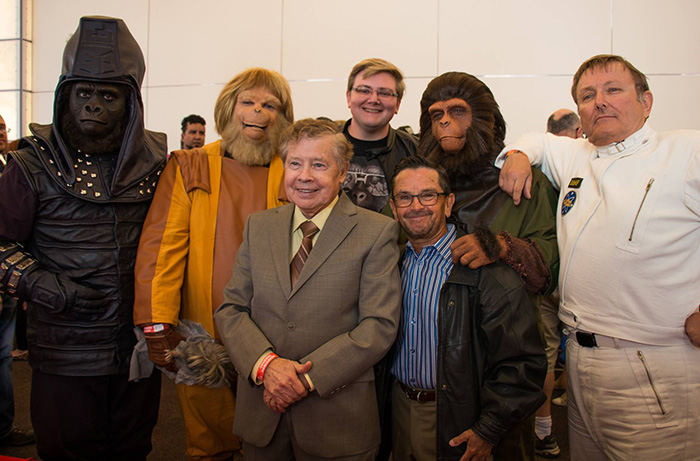 At Monsterpalooza 2017: (L to R) Lou Wagner, director William Conlin, and Bobby Porter post with APES cosplayers after the MAKING APES: THE ARTISTS WHO CHANGED FILM panel. Photo courtesy of Making Apes on Facebook.